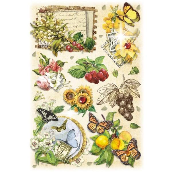 3-D Stickerbogen, Vintage-Blumen 4, 12,7 x 18,8 cm