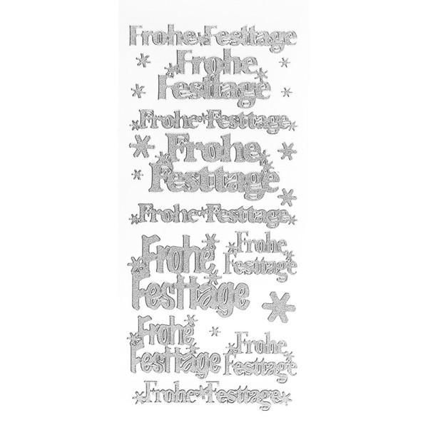 Sticker, Frohe Festtage, Diamantfolie, silber