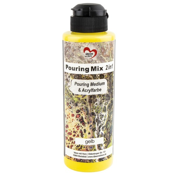 Pouring Mix, 2 in 1, Pouring Medium & Acrylfarbe, gelb, 180ml