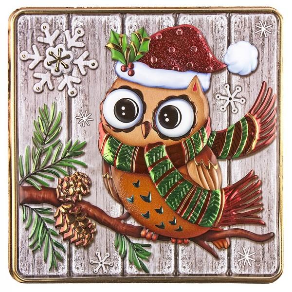 Relief-Sticker, Eule auf Holzpaneelen, Holz-& Metallic-Optik, 18cm x 17,5cm