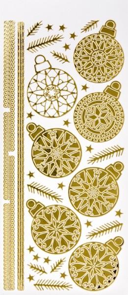 Sticker, Weihnachtskugeln & Zweige, Spiegelfolie, gold