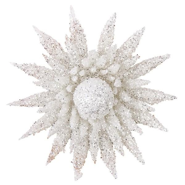 Deko-Blüten, Frosty 3, 30g, weiß mit Glitzer