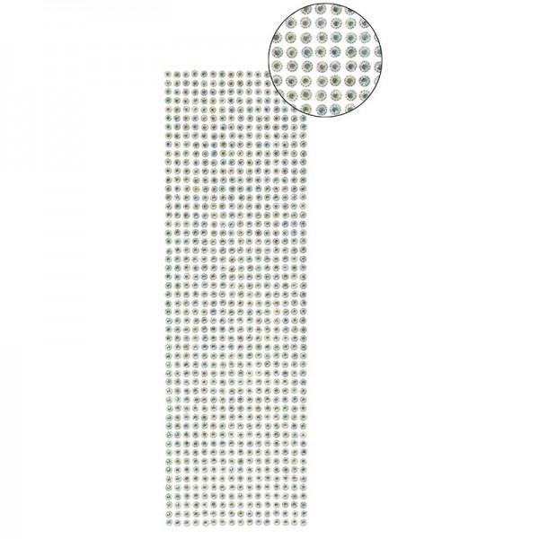 Schmuckstein-Bordüren, selbstklebend, facettiert, irisierend, Ø5mm, 29cm, 16 Stück, türkis