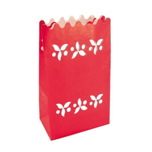 Lichttüten mit Ausstanzung, 9 x 15,5 x 26 cm, rot, 4er Set