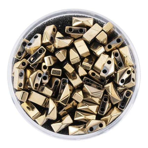 Hämatit-Perlen, Pyramide, 4mm x 6mm x 3mm, metallic-hellgold, 60 Stück