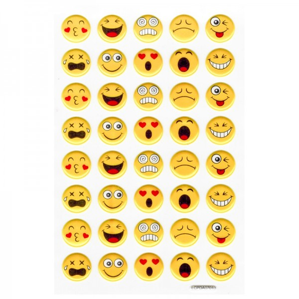 Puffy-Sticker, Emotion, Smileys, 10 x 15 cm