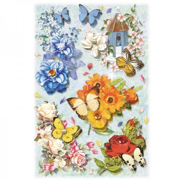3-D Stickerbogen, Blumen auf Blau 2, 12,7 x 18,8 cm