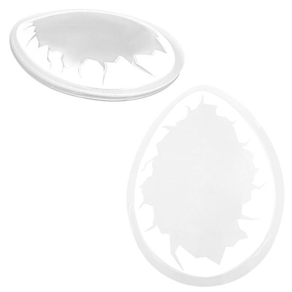 Motiv-Bolblister, Ei, Design 1, transparent mit weißem Eierschalendesign, 10 Stück