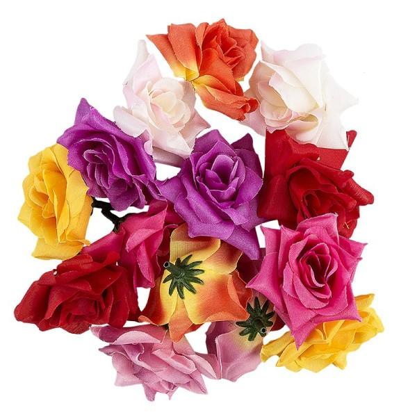 Deko-Blüten, Rose 2, Ø 5cm, verschiedene Farben, 14 Stück