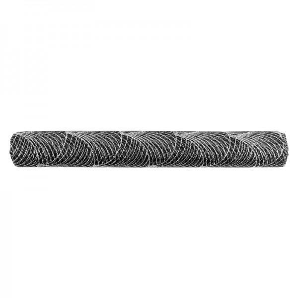 Deko-Stoff, Netzoptik 2, 28cm breit, 3m lang, schwarz, silber