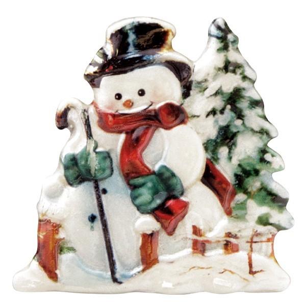Wachsornament Schneemänner 9, farbig, geprägt, 7cm