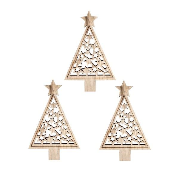 Tannenbäume, Holz, 10cm x 6,5cm, 3mm stark, mit gelaserten Deko-Elementen, 3 Stück