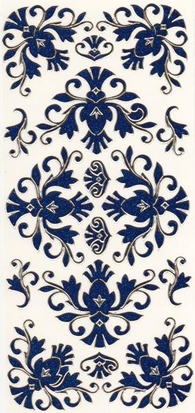 Microglitter-Sticker, Schnörkelornament 2, blau