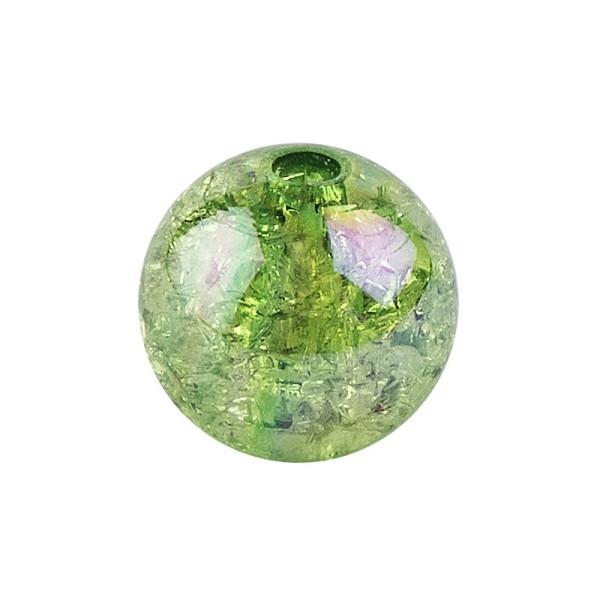 Perlen, Crackle, Ø 10mm, grün-irisierend, 50 Stk.