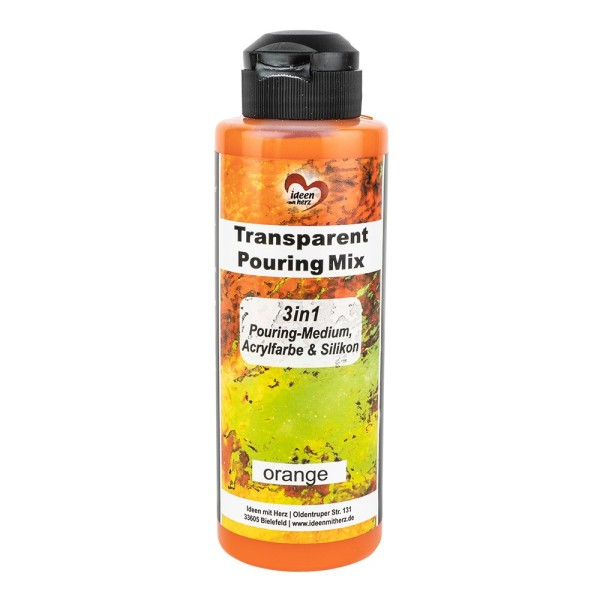 Transparent-Pouring-Mix, 3 in 1, Medium, Acrylfarbe & Silikonöl, orange, 180 ml