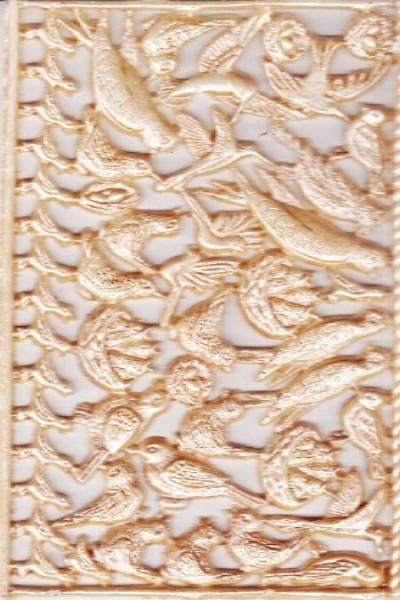 Wachsornament-Platte Vögel, 16 x 8 cm, braun-patiniert