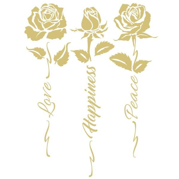 Metallic-Bügeltransfers, Rosen 4, DIN A4, gold glänzend