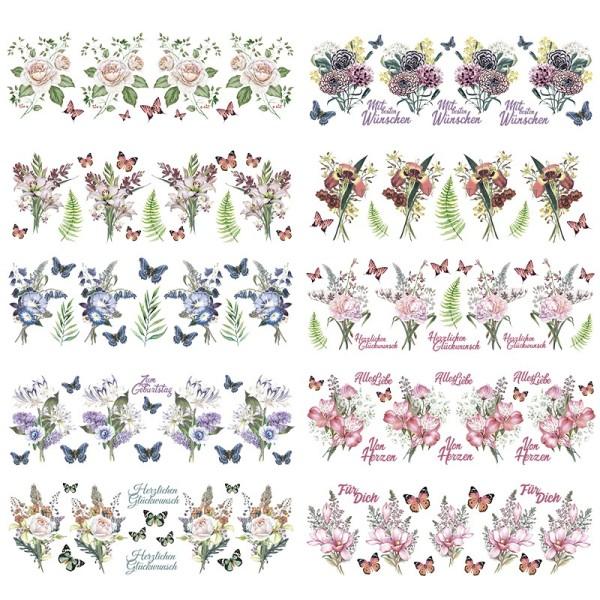 Transparent-Stickerbogen, Nostalgie-Blumen, verschiedene Designs, 10cm x 30cm, 10 Bogen