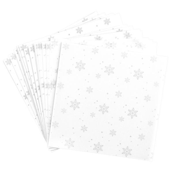 Faltpapiere, transparent, Eiskristalle, 15cm x 15cm, 110 g/m², weiß/silber, 100 Stück