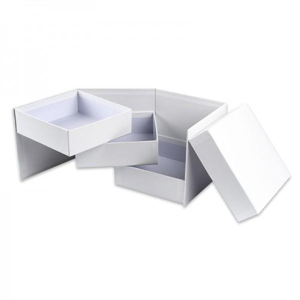 Geschenkbox, 13cm x 13cm x 12cm, mit 3 Innenfächern, seitlich aufklappbar