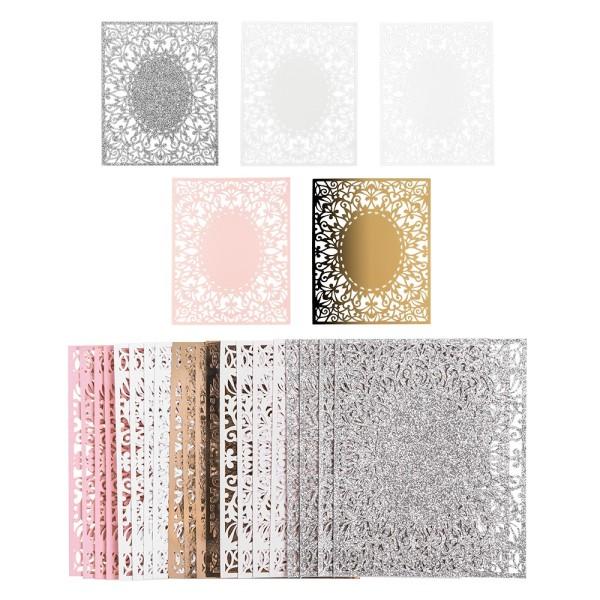 Laser-Kartenaufleger, Zierdeckchen, Ornament 14, 14cm x 11,2cm, 220 g/m², 5 Farbtöne, 20 Stück
