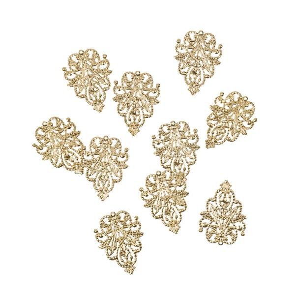 Metall-Ornamente, Design 13, 4,8cm x 3,5cm, hellgold, 10 Stück