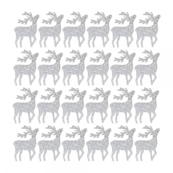 Streudeko, Hirsche, 3cm x 4cm, 2mm stark, silber, 24 Stück