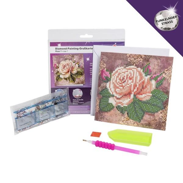 Diamond-Painting-Grußkarte, Strass, Rose 1, 16cm x 16cm, inkl. Umschlag & Werkzeug