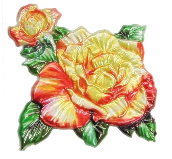 Wachsornament Rose, farbig, geprägt, 7,5 x 7,5 cm