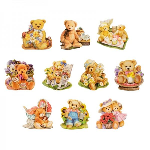 3-D Motive, Teddys Welt, Gold-Gravur, 6-6,5cm, 10 Motive
