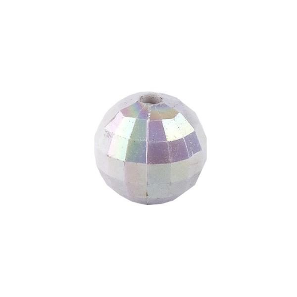 Perlen, facettiert, Ø 6mm, silber-irisierend, 150 Stk.