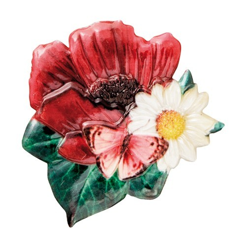 Wachsornament Blumen & Schmetterlinge 7, farbig, geprägt, 7cm