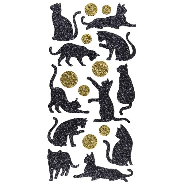 Moosgummi-Sticker, Katzen, 20cm x 10cm, mit irisierendem Glitzer