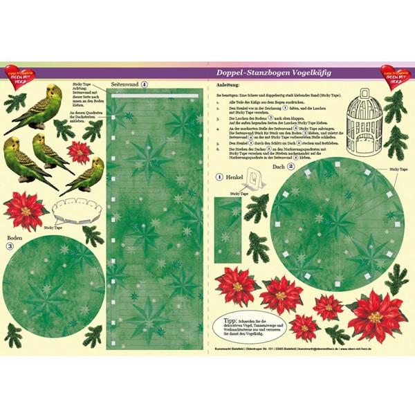 Doppel-Stanzbogen Vogelkäfig, weihnachtlich, DIN A3, grün