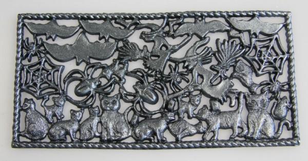 Wachsornamente Fledermäuse & Katzen, schwarz-perlmutt, 8 x 16 cm