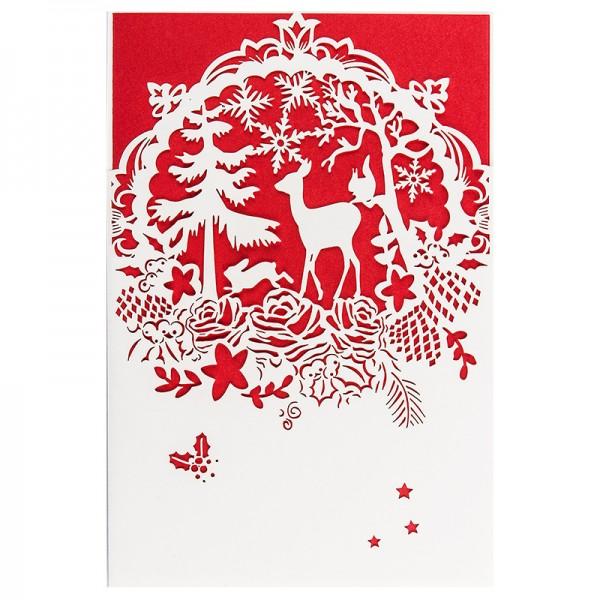"""Laser-Grußkarte """"Weihnachten 4"""", 12x18cm, mit Einleger & Umschlag"""