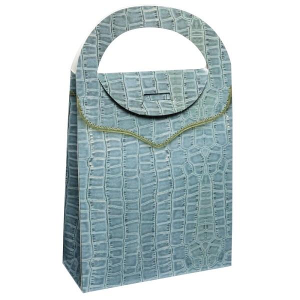 Geschenktasche Lederoptik, 4,5 x 11,5 x 20 cm, hellblau