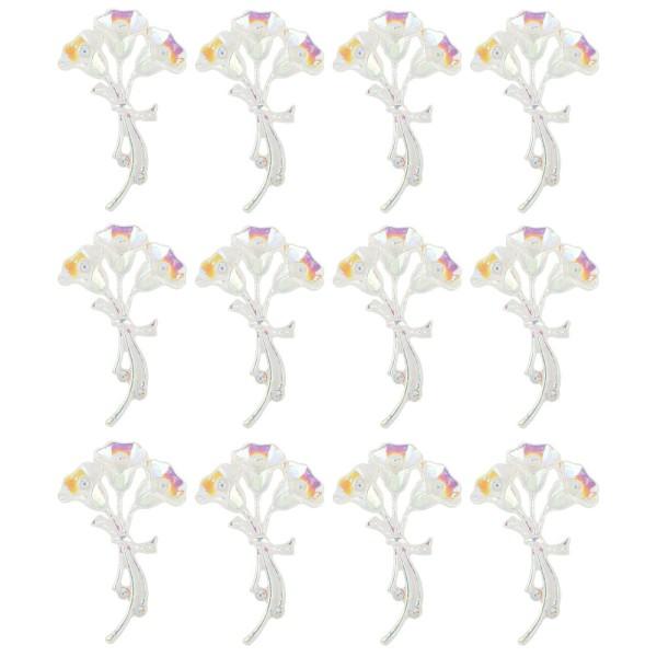Kristallkunst-Schmucksteine, Blumenstrauß 2, 3,4cm x 5,5cm, transparent, klar, irisierend, 12 Stück