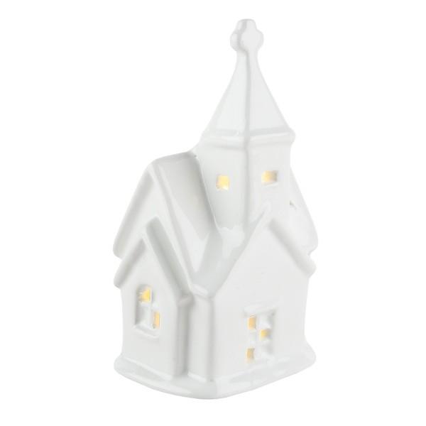 LED-Kirche, Porzellan, weiß, 12,5cm x 7cm x 5,2cm, 1 LED-Lämpchen warmweiß, inkl. 2 Knopfzellen