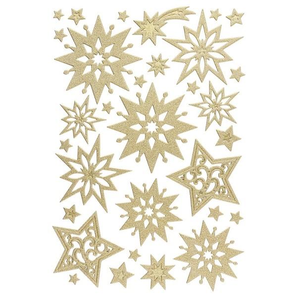3-D Sticker, Deluxe Sterne,verschiedene Größen, selbstklebend, gold