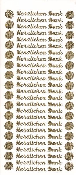 Sticker, Herzlichen Dank, gold
