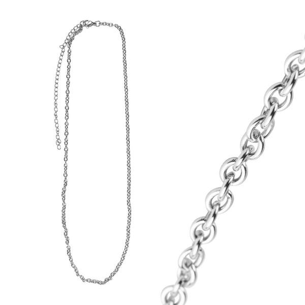 Glieder-Halsketten aus Edelstahl, 45cm lang, verlängerbar, Stärke: 2mm, silber, 3 Stück