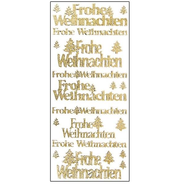 Microglitter-Sticker, Frohe Weihnachten/Tannenbaum, gold
