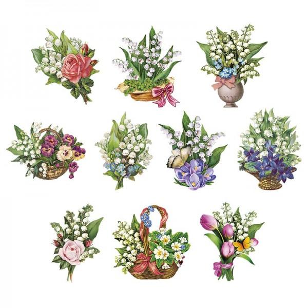 3-D Motive, Zauberhafte Maiglöckchen, 7-10, 5 cm, 10 Motive