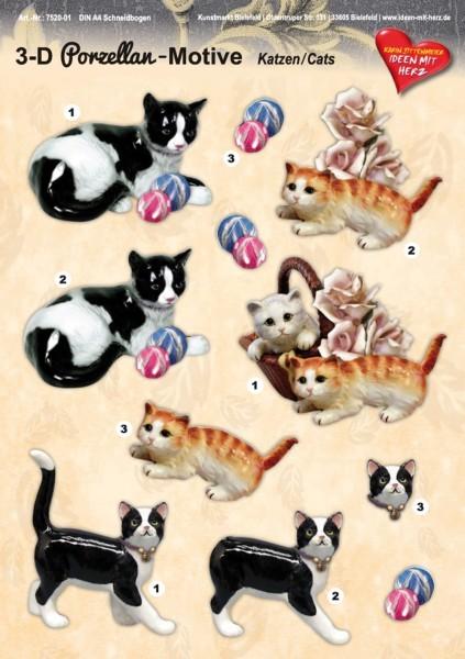 3-D Porzellan-Motive, Katzen, DIN A4 Bogen