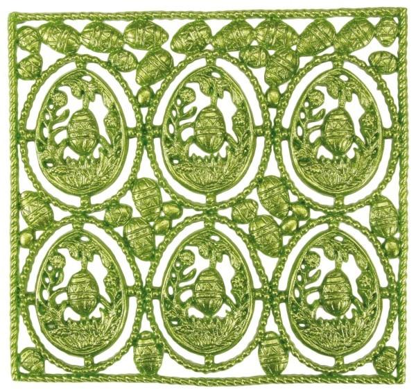 Wachsornament-Platte Panorama-Eier, 16 x 16 cm, grün-perlmutt