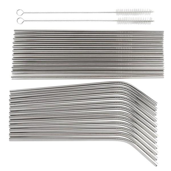 Trinkhalme aus Edelstahl, Ø 0,6cm, 20,5cm lang, 12 gerade & 12 gebogene, 2 Bürsten, 26-teilig