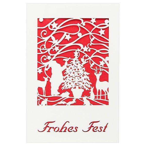 """Laser-Grußkarte """"Frohes Fest 2"""", 12x18cm, mit Einleger & Umschlag"""