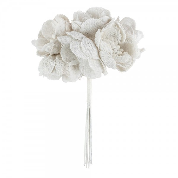 Stoffblüten mit Spitze, Blüte: Ø 3cm, Blüte mit Draht: 11cm, natur, feine Leinenstruktur, 6 Stück