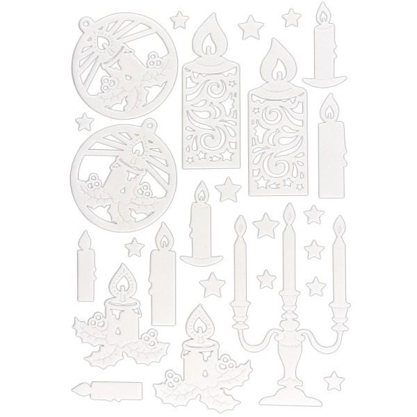 3-D Sticker, Deluxe Kerzen, verschiedene Größen, selbstklebend, weiß